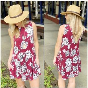 Burgundy Floral Tunic Dress with Pockets